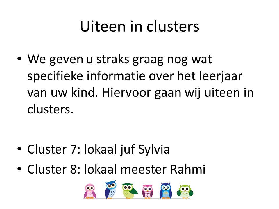 Uiteen in clusters We geven u straks graag nog wat specifieke informatie over het leerjaar van uw kind.
