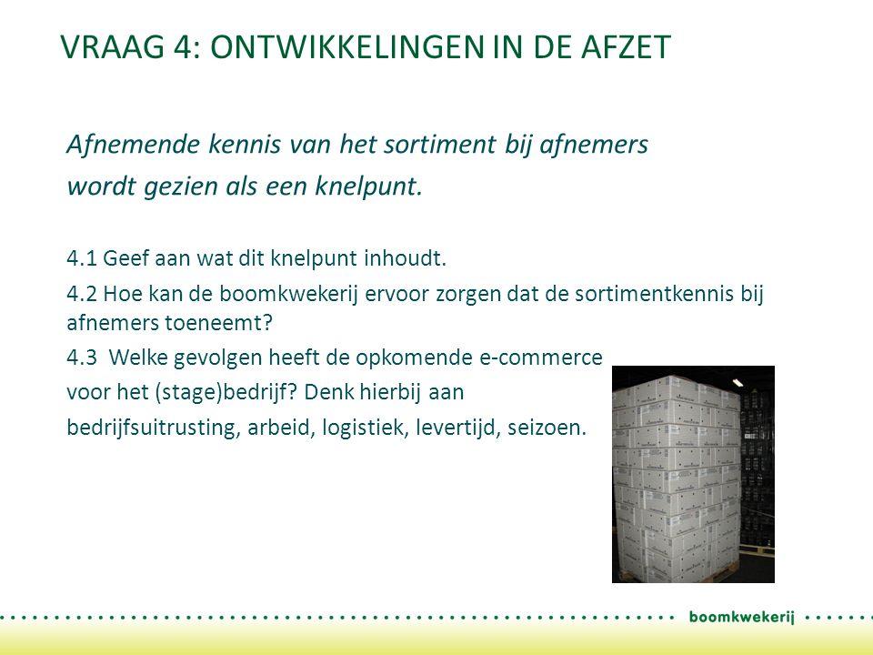 VRAAG 4: ONTWIKKELINGEN IN DE AFZET Afnemende kennis van het sortiment bij afnemers wordt gezien als een knelpunt.
