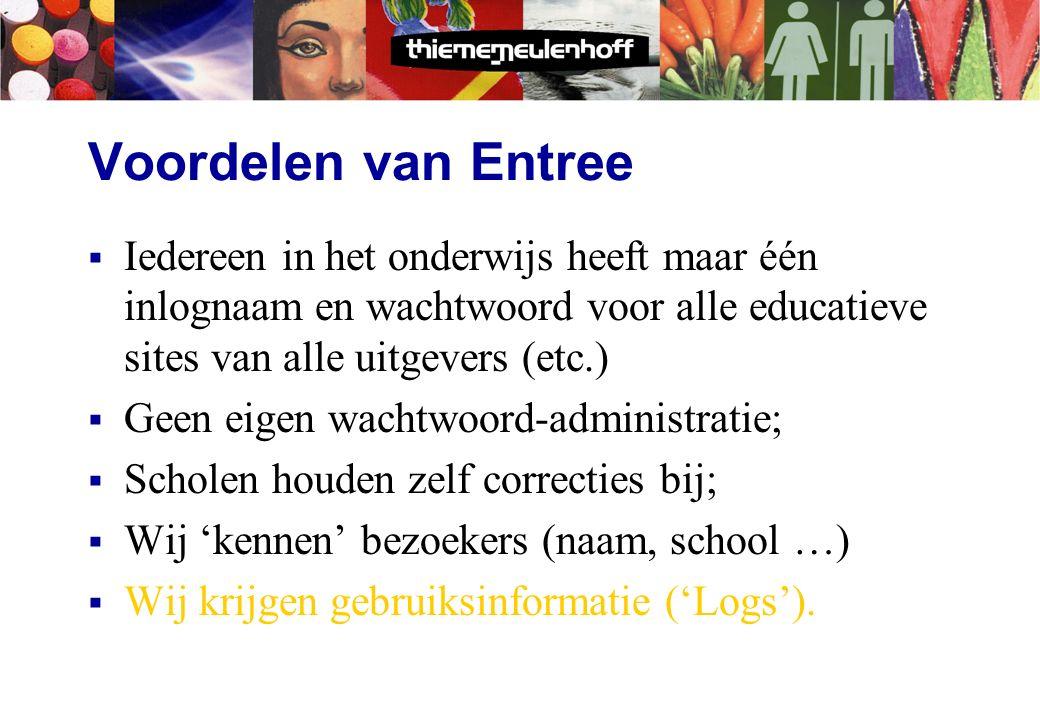 Entree  'Entree' regelt de toegang tot websites d.m.v.:  Alle gegevens van scholen, docenten en leerlingen (inlognaam en ww);  Methodesite-gegevens