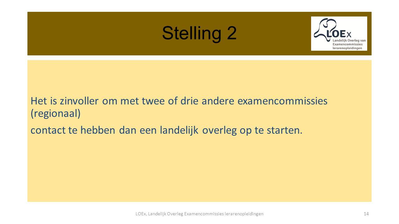 Stelling 2 Het is zinvoller om met twee of drie andere examencommissies (regionaal) contact te hebben dan een landelijk overleg op te starten.