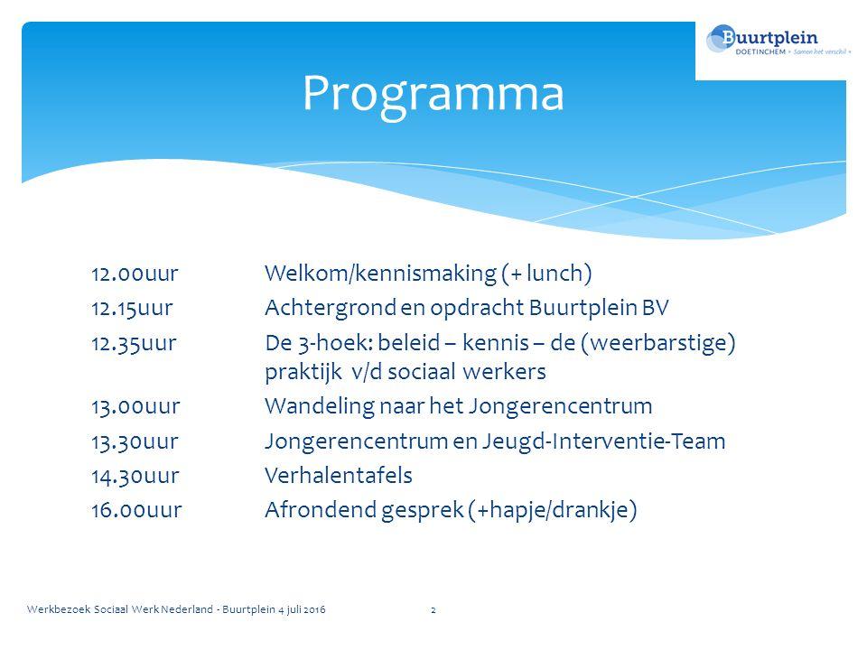 12.00uurWelkom/kennismaking (+ lunch) 12.15uurAchtergrond en opdracht Buurtplein BV 12.35uurDe 3-hoek: beleid – kennis – de (weerbarstige) praktijk v/d sociaal werkers 13.00uurWandeling naar het Jongerencentrum 13.30uurJongerencentrum en Jeugd-Interventie-Team 14.30uurVerhalentafels 16.00uurAfrondend gesprek (+hapje/drankje) Programma Werkbezoek Sociaal Werk Nederland - Buurtplein 4 juli 20162