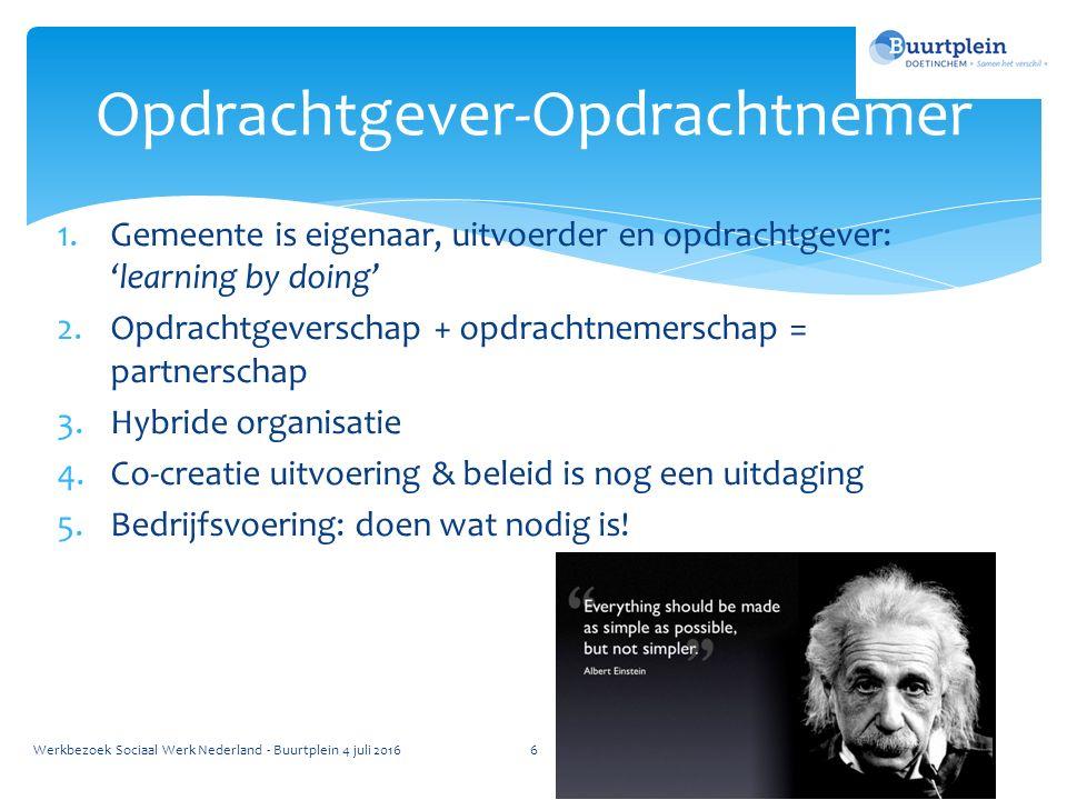 1.Gemeente is eigenaar, uitvoerder en opdrachtgever: 'learning by doing' 2.Opdrachtgeverschap + opdrachtnemerschap = partnerschap 3.Hybride organisatie 4.Co-creatie uitvoering & beleid is nog een uitdaging 5.Bedrijfsvoering: doen wat nodig is.