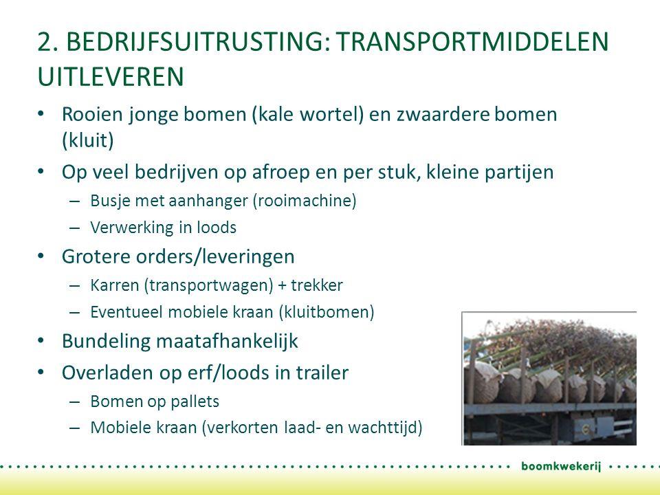 2. BEDRIJFSUITRUSTING: TRANSPORTMIDDELEN UITLEVEREN Rooien jonge bomen (kale wortel) en zwaardere bomen (kluit) Op veel bedrijven op afroep en per stu