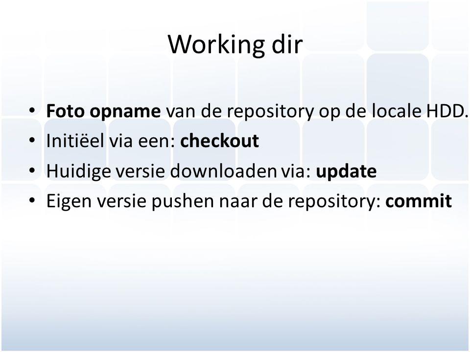 Working dir Foto opname van de repository op de locale HDD.