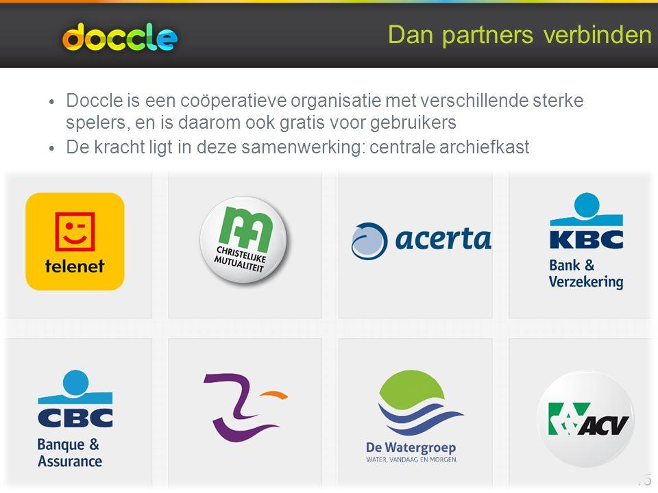 Dan partners verbinden Doccle is een coöperatieve organisatie met verschillende sterke spelers, en is daarom ook gratis voor gebruikers De kracht ligt in deze samenwerking: centrale archiefkast 15