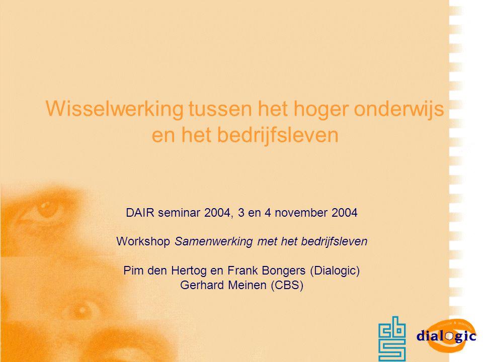 Wisselwerking tussen het hoger onderwijs en het bedrijfsleven DAIR seminar 2004, 3 en 4 november 2004 Workshop Samenwerking met het bedrijfsleven Pim