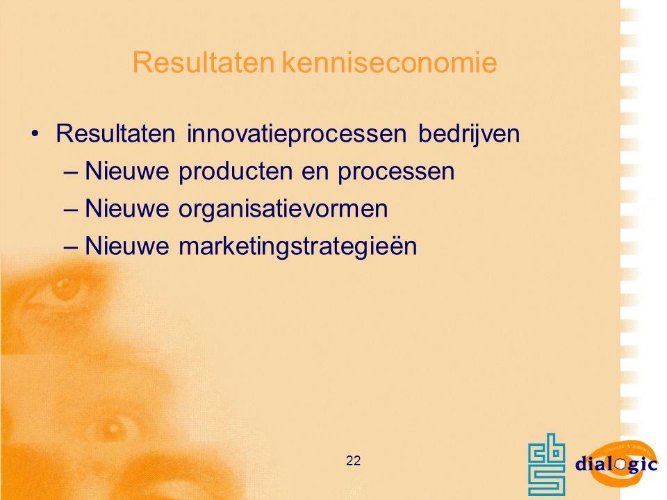 22 Resultaten kenniseconomie Resultaten innovatieprocessen bedrijven –Nieuwe producten en processen –Nieuwe organisatievormen –Nieuwe marketingstrateg