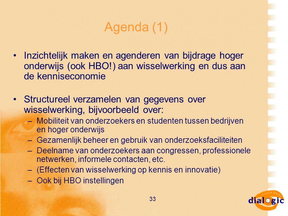 33 Agenda (1) Inzichtelijk maken en agenderen van bijdrage hoger onderwijs (ook HBO!) aan wisselwerking en dus aan de kenniseconomie Structureel verza
