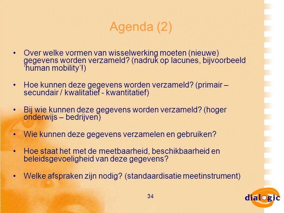 34 Agenda (2) Over welke vormen van wisselwerking moeten (nieuwe) gegevens worden verzameld? (nadruk op lacunes, bijvoorbeeld 'human mobility'!) Hoe k