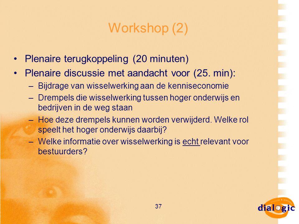 37 Workshop (2) Plenaire terugkoppeling (20 minuten) Plenaire discussie met aandacht voor (25. min): –Bijdrage van wisselwerking aan de kenniseconomie