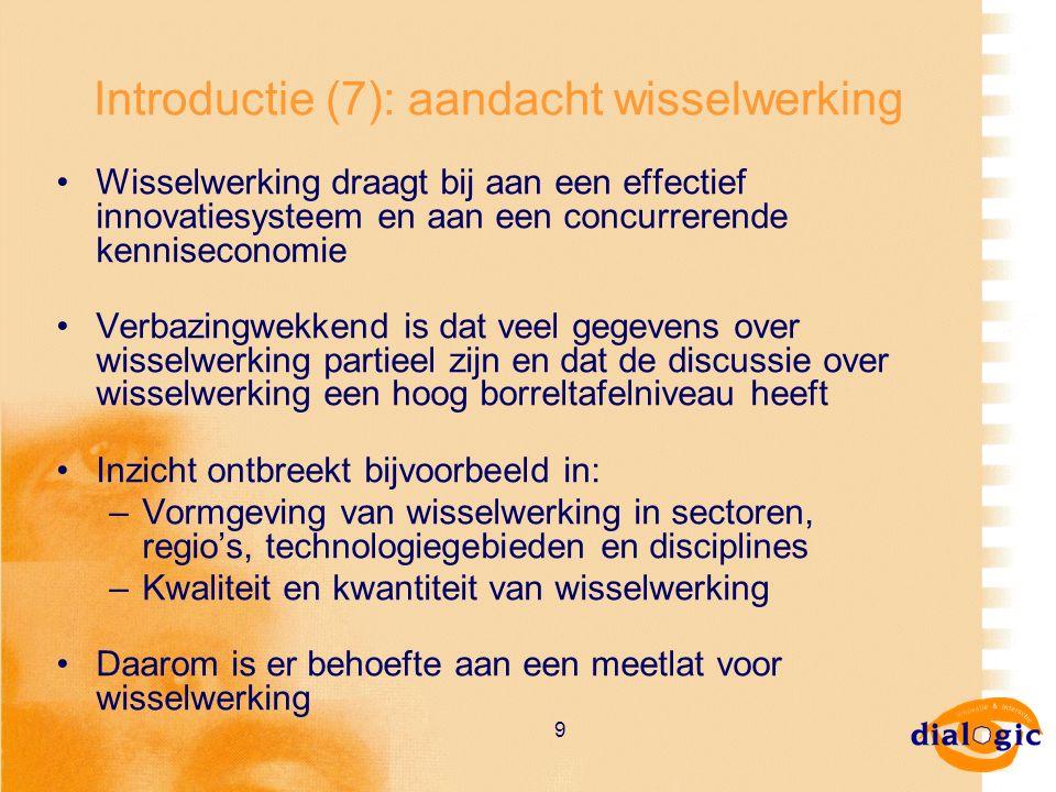 9 Introductie (7): aandacht wisselwerking Wisselwerking draagt bij aan een effectief innovatiesysteem en aan een concurrerende kenniseconomie Verbazin