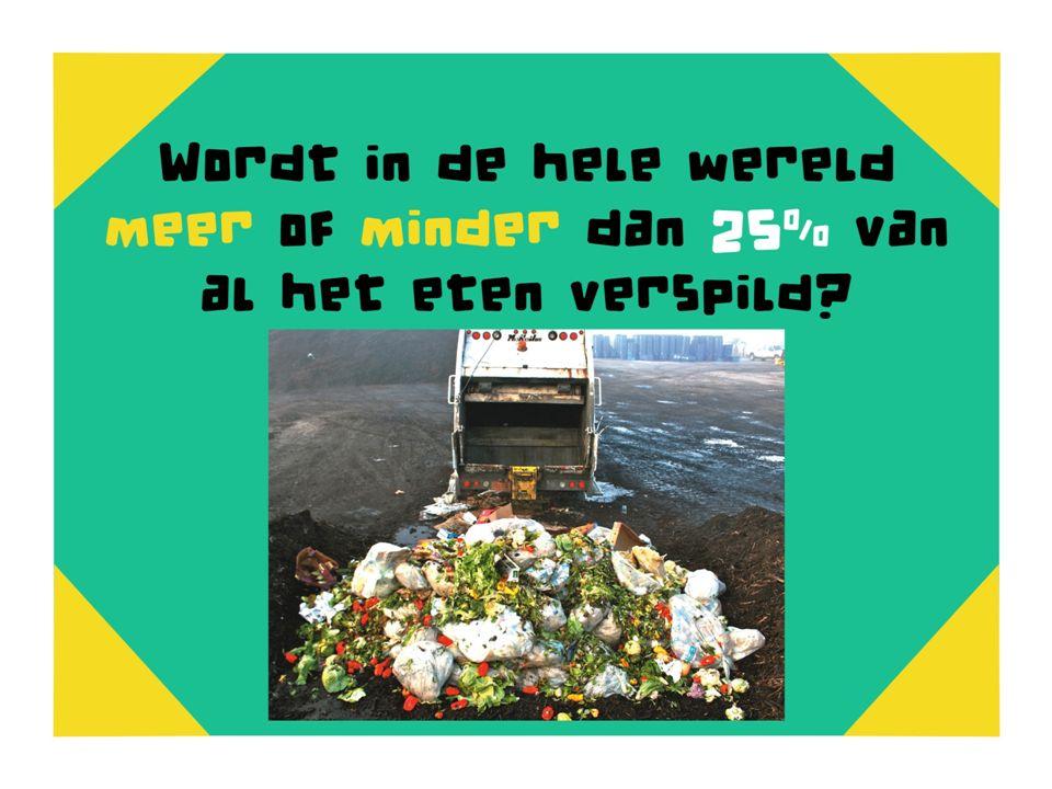 Wordt in de hele wereld meer of minder dan 25% van al het eten verspild meer