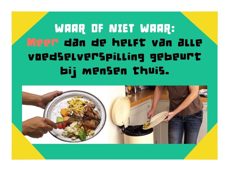 Waar of niet waar Meer dan de helft van alle voedselverspilling gebeurt bij mensen thuis
