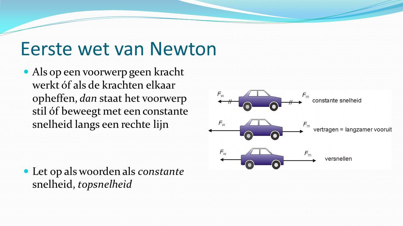 Eerste wet van Newton Als op een voorwerp geen kracht werkt óf als de krachten elkaar opheffen, dan staat het voorwerp stil óf beweegt met een constante snelheid langs een rechte lijn Let op als woorden als constante snelheid, topsnelheid