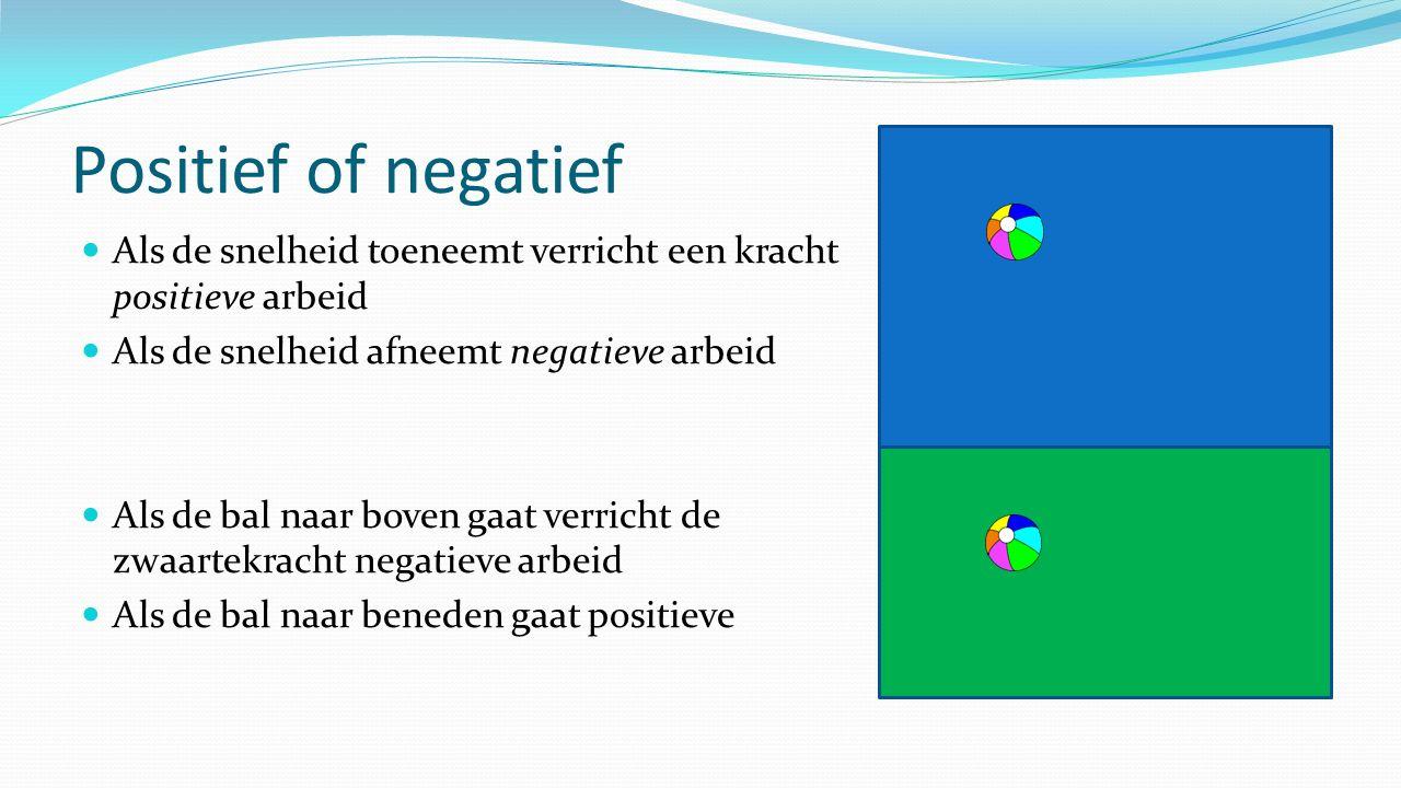 Positief of negatief Als de snelheid toeneemt verricht een kracht positieve arbeid Als de snelheid afneemt negatieve arbeid Als de bal naar boven gaat verricht de zwaartekracht negatieve arbeid Als de bal naar beneden gaat positieve