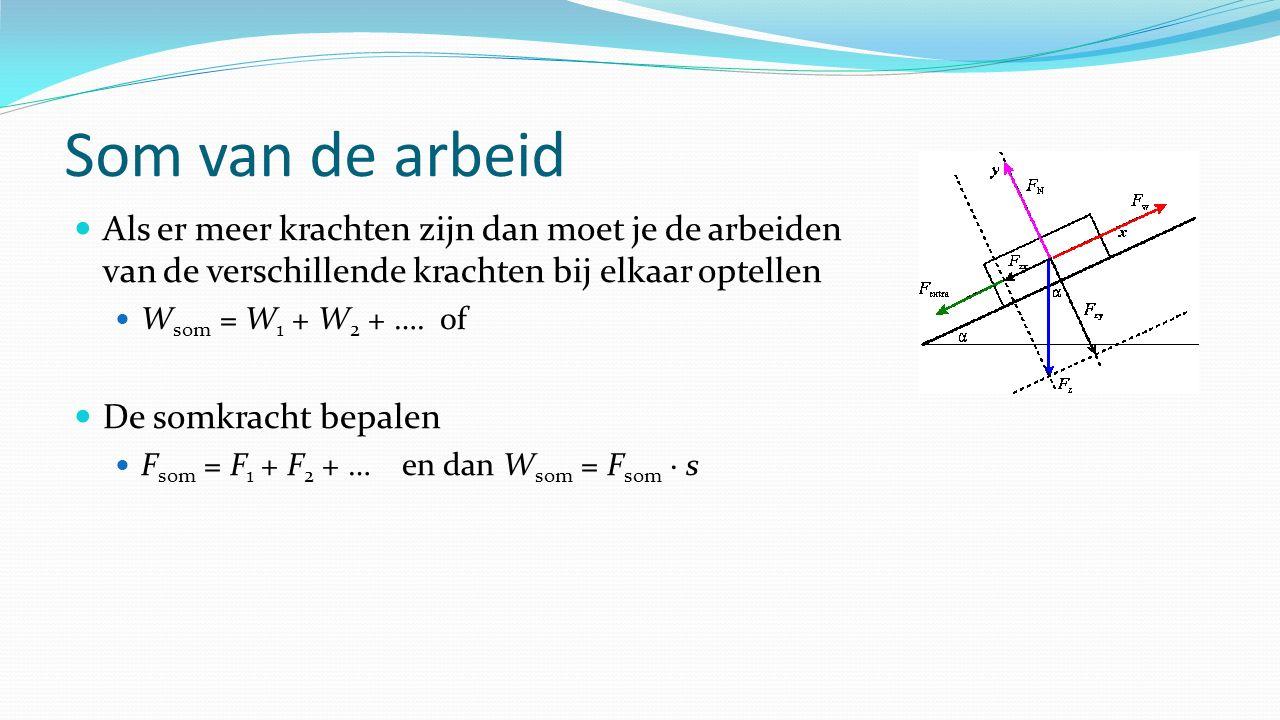 Som van de arbeid Als er meer krachten zijn dan moet je de arbeiden van de verschillende krachten bij elkaar optellen W som = W 1 + W 2 + ….