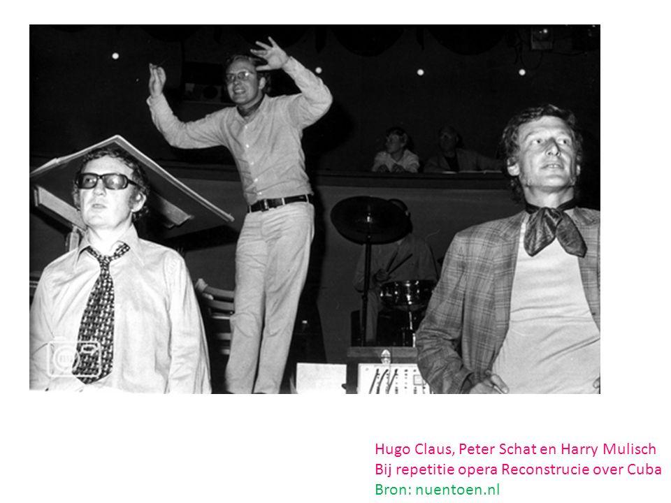 Hugo Claus, Peter Schat en Harry Mulisch Bij repetitie opera Reconstrucie over Cuba Bron: nuentoen.nl