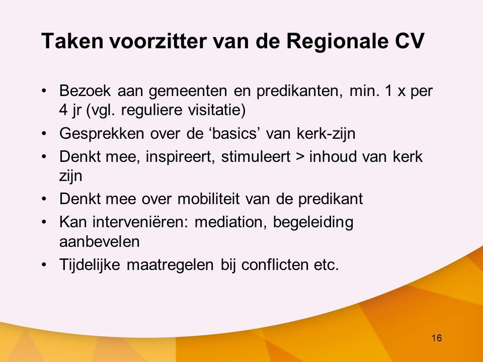 16 Taken voorzitter van de Regionale CV Bezoek aan gemeenten en predikanten, min.