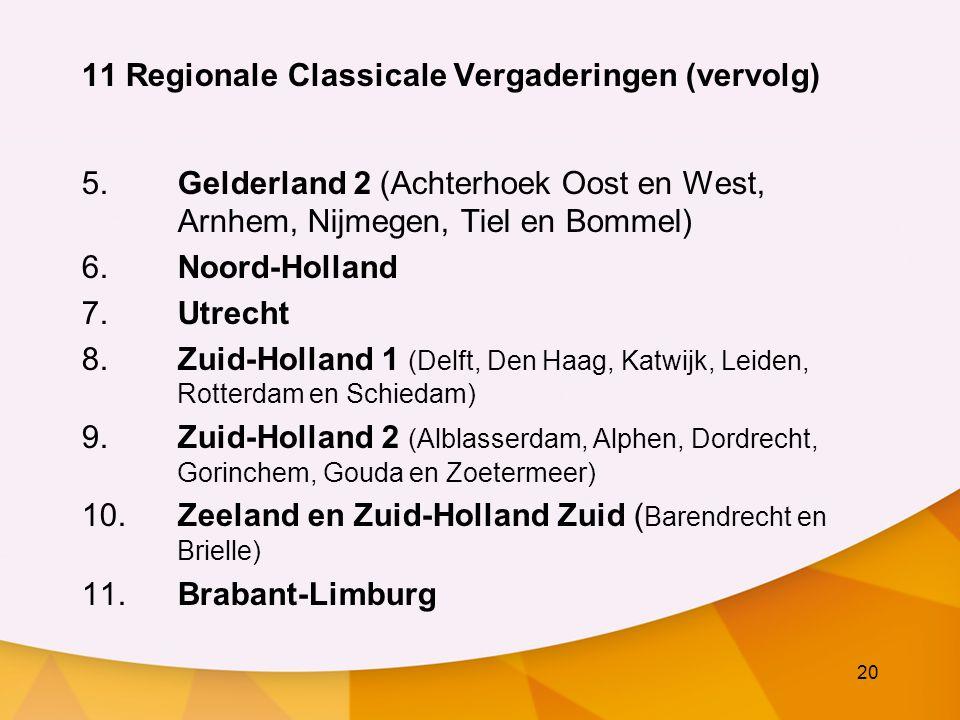 20 11 Regionale Classicale Vergaderingen (vervolg) 5.