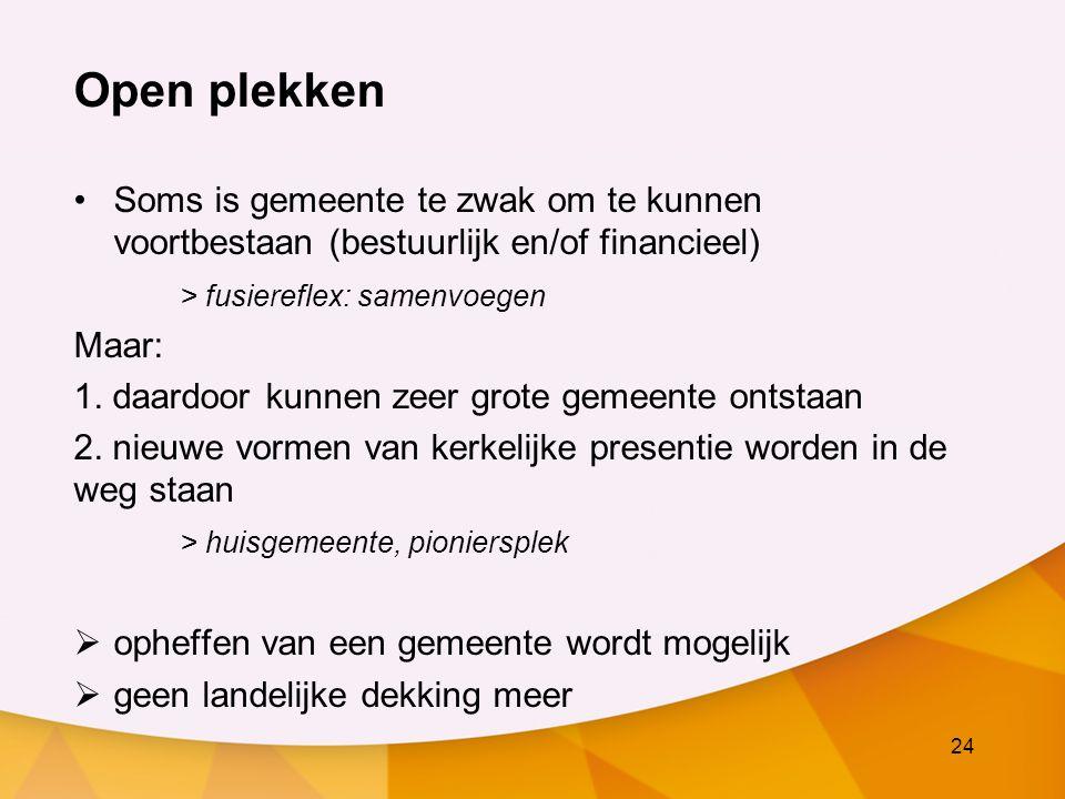 24 Open plekken Soms is gemeente te zwak om te kunnen voortbestaan (bestuurlijk en/of financieel) > fusiereflex: samenvoegen Maar: 1.