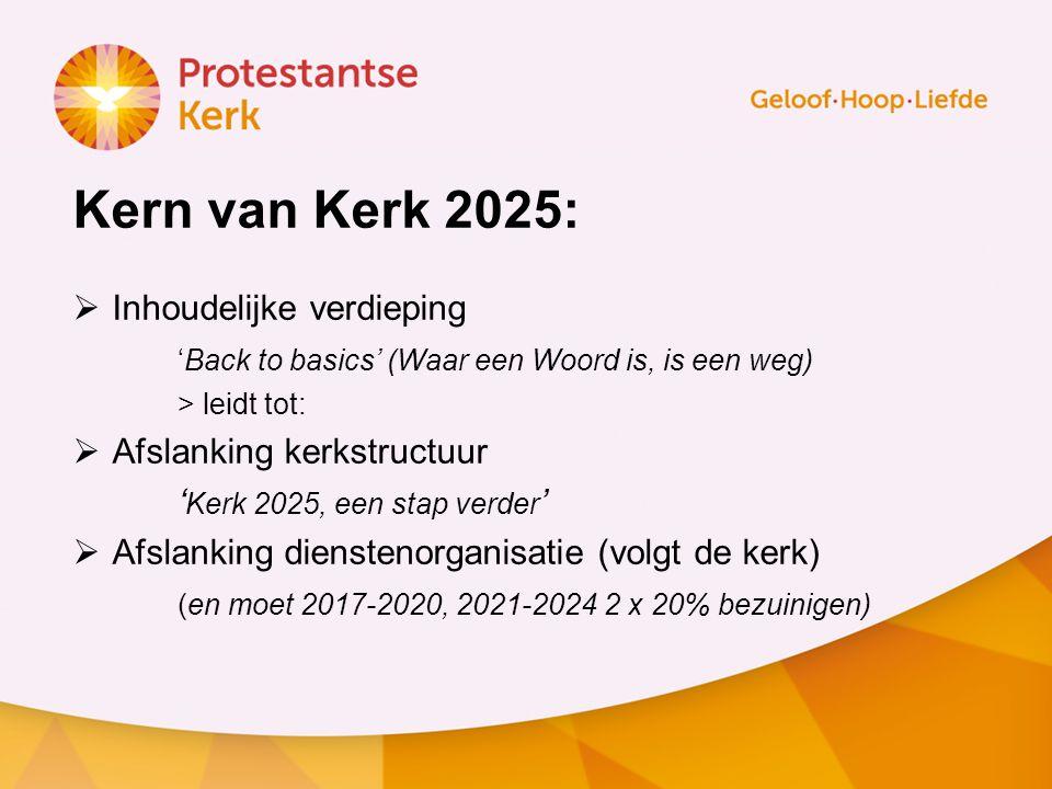 Kern van Kerk 2025:  Inhoudelijke verdieping 'Back to basics' (Waar een Woord is, is een weg) > leidt tot:  Afslanking kerkstructuur ' Kerk 2025, een stap verder '  Afslanking dienstenorganisatie (volgt de kerk) (en moet 2017-2020, 2021-2024 2 x 20% bezuinigen)