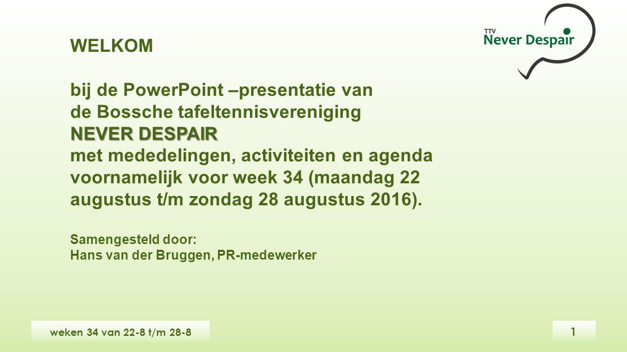 WELKOM bij de PowerPoint –presentatie van de Bossche tafeltennisvereniging NEVER DESPAIR met mededelingen, activiteiten en agenda voornamelijk voor week 34 (maandag 22 augustus t/m zondag 28 augustus 2016).