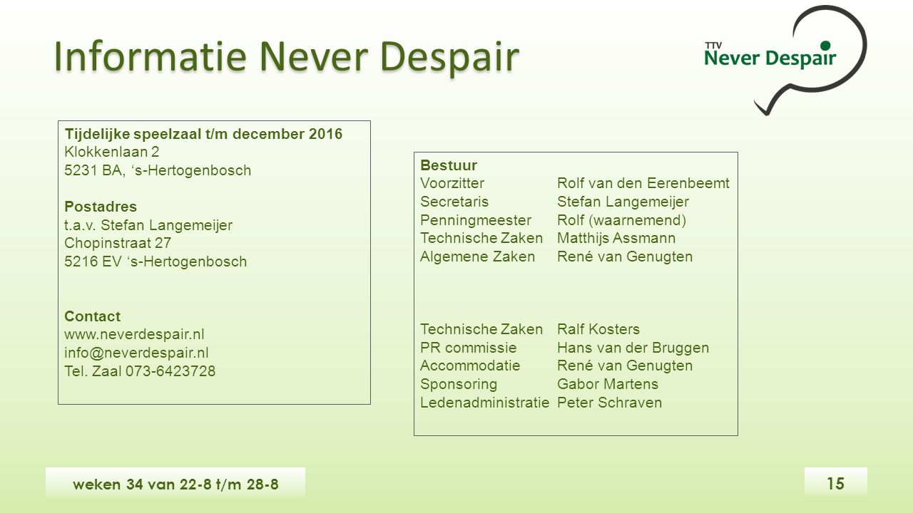 Tijdelijke speelzaal t/m december 2016 Klokkenlaan 2 5231 BA, 's-Hertogenbosch Postadres t.a.v.