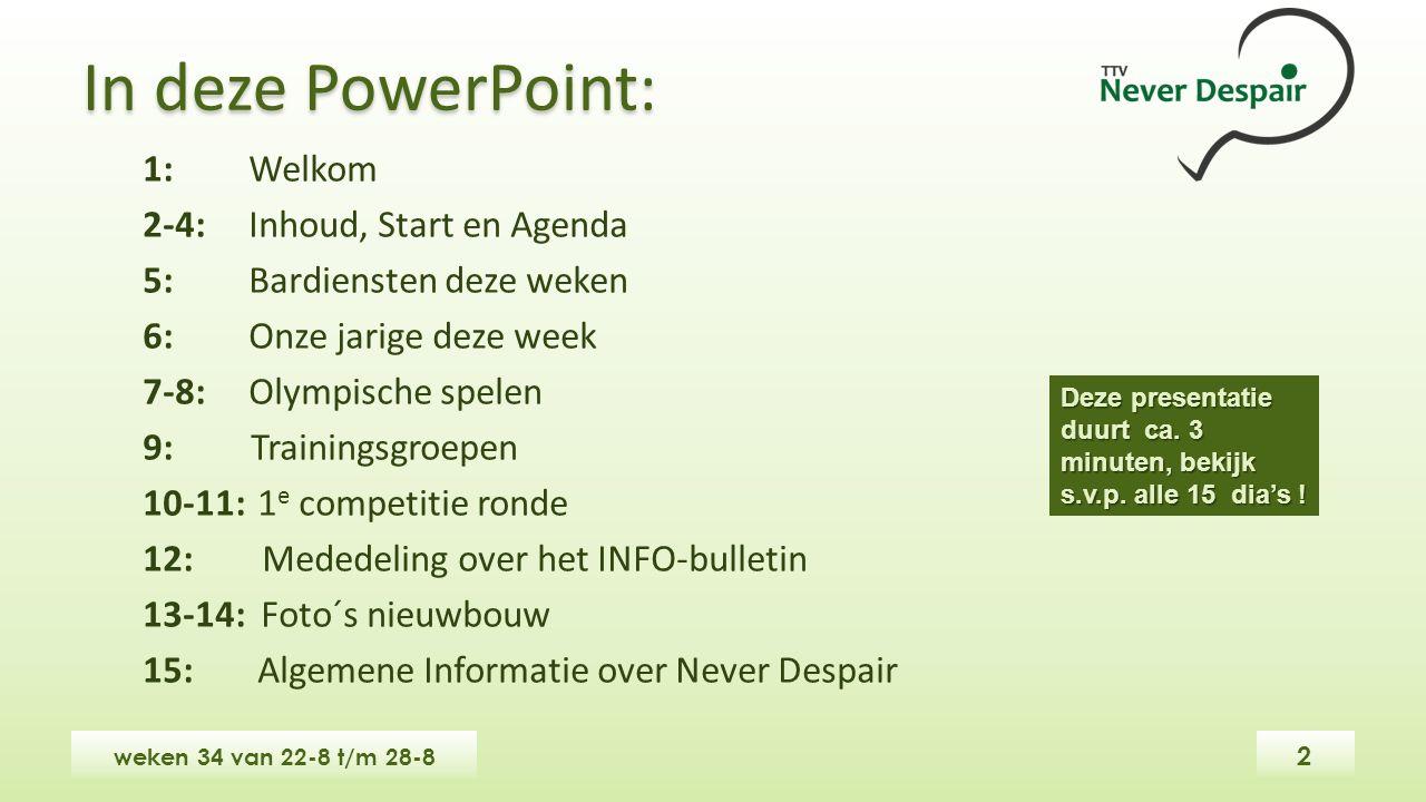 In deze PowerPoint: weken 34 van 22-8 t/m 28-8 1: Welkom 2-4: Inhoud, Start en Agenda 5:Bardiensten deze weken 6:Onze jarige deze week 7-8:Olympische