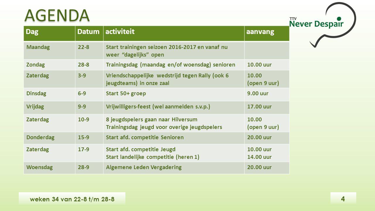 """DagDatumactiviteitaanvang Maandag22-8Start trainingen seizoen 2016-2017 en vanaf nu weer """"dagelijks"""" open Zondag28-8Trainingsdag (maandag en/of woensd"""