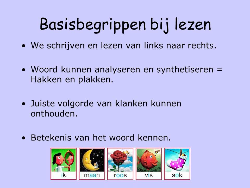 Basisbegrippen bij lezen We schrijven en lezen van links naar rechts. Woord kunnen analyseren en synthetiseren = Hakken en plakken. Juiste volgorde va