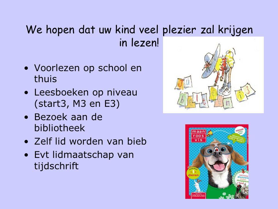 We hopen dat uw kind veel plezier zal krijgen in lezen! Voorlezen op school en thuis Leesboeken op niveau (start3, M3 en E3) Bezoek aan de bibliotheek