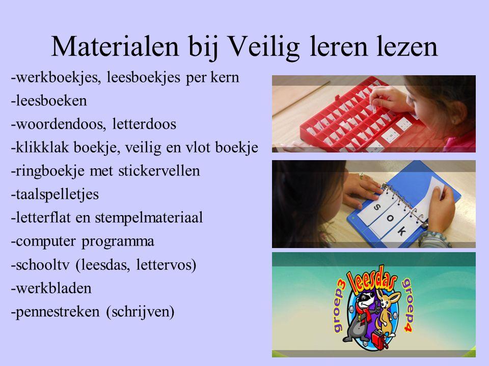 Materialen bij Veilig leren lezen -werkboekjes, leesboekjes per kern -leesboeken -woordendoos, letterdoos -klikklak boekje, veilig en vlot boekje -rin