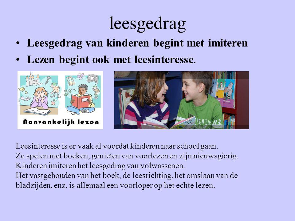 leesgedrag Leesgedrag van kinderen begint met imiteren Lezen begint ook met leesinteresse. Leesinteresse is er vaak al voordat kinderen naar school ga