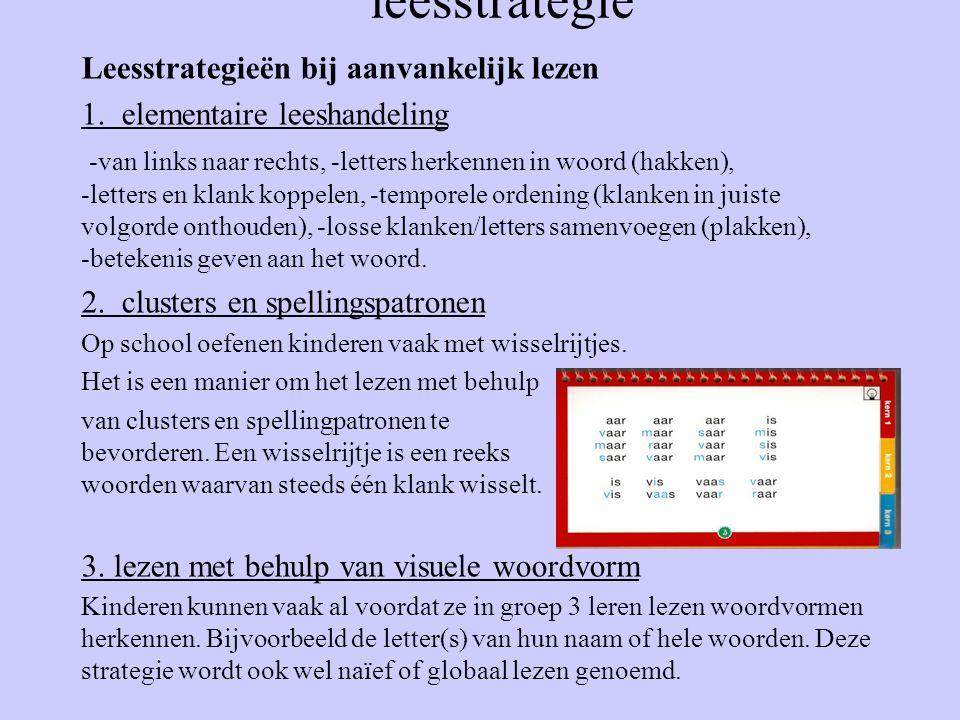 leesstrategie Leesstrategieën bij aanvankelijk lezen 1. elementaire leeshandeling -van links naar rechts, -letters herkennen in woord (hakken), -lette
