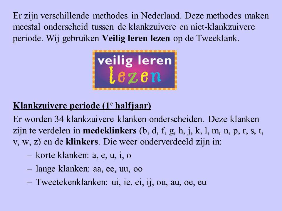 Er zijn verschillende methodes in Nederland. Deze methodes maken meestal onderscheid tussen de klankzuivere en niet-klankzuivere periode. Wij gebruike