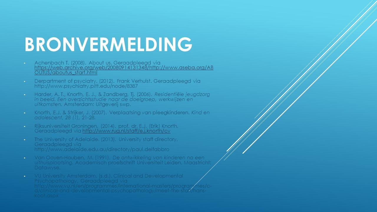 BRONVERMELDING Achenbach T. (2008). About us.