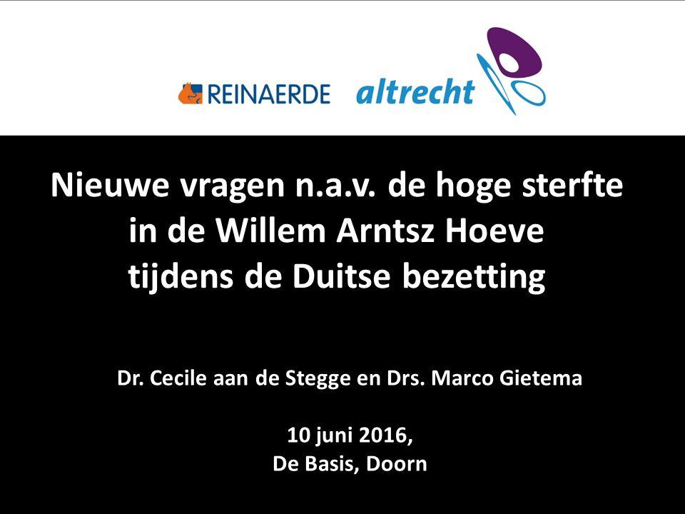 Nieuwe vragen n.a.v. de hoge sterfte in de Willem Arntsz Hoeve tijdens de Duitse bezetting Dr.