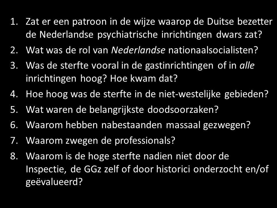 1.Zat er een patroon in de wijze waarop de Duitse bezetter de Nederlandse psychiatrische inrichtingen dwars zat.