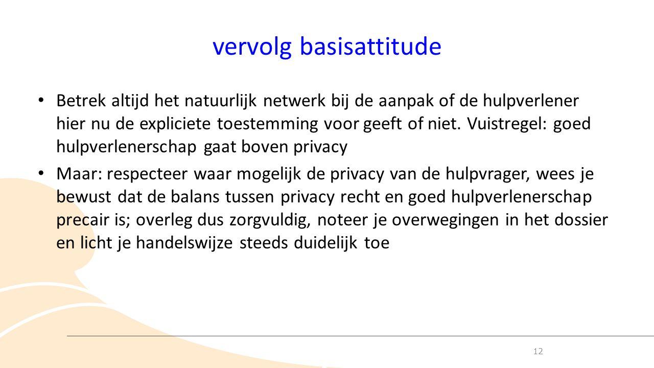 vervolg basisattitude Betrek altijd het natuurlijk netwerk bij de aanpak of de hulpverlener hier nu de expliciete toestemming voor geeft of niet.