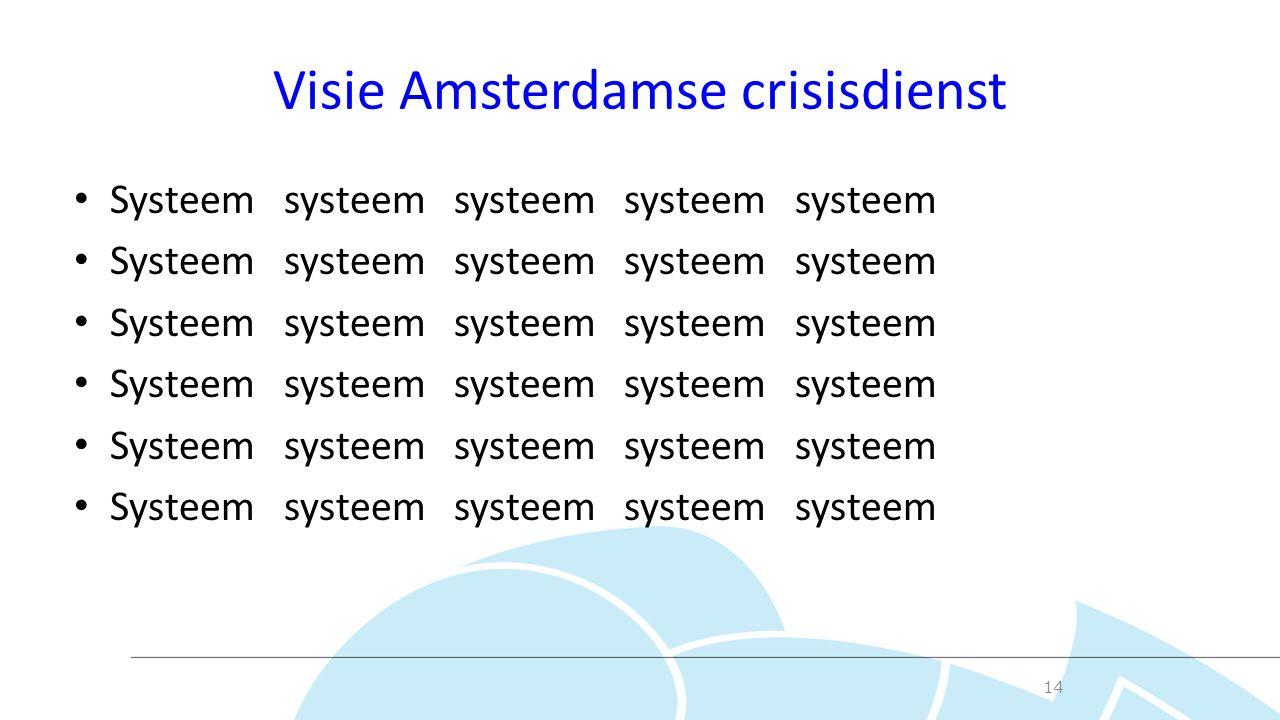 Visie Amsterdamse crisisdienst Systeem systeem systeem systeem systeem 14
