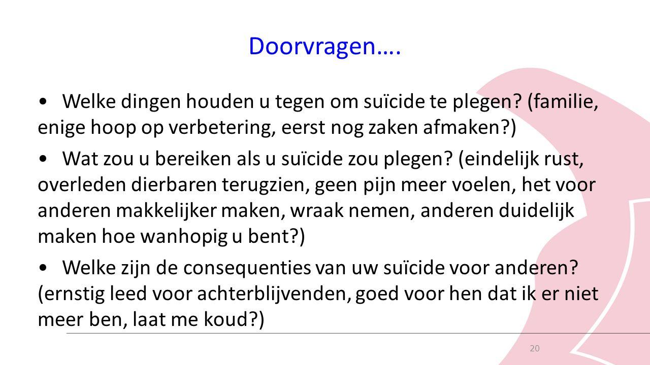 Doorvragen…. Welke dingen houden u tegen om suïcide te plegen.