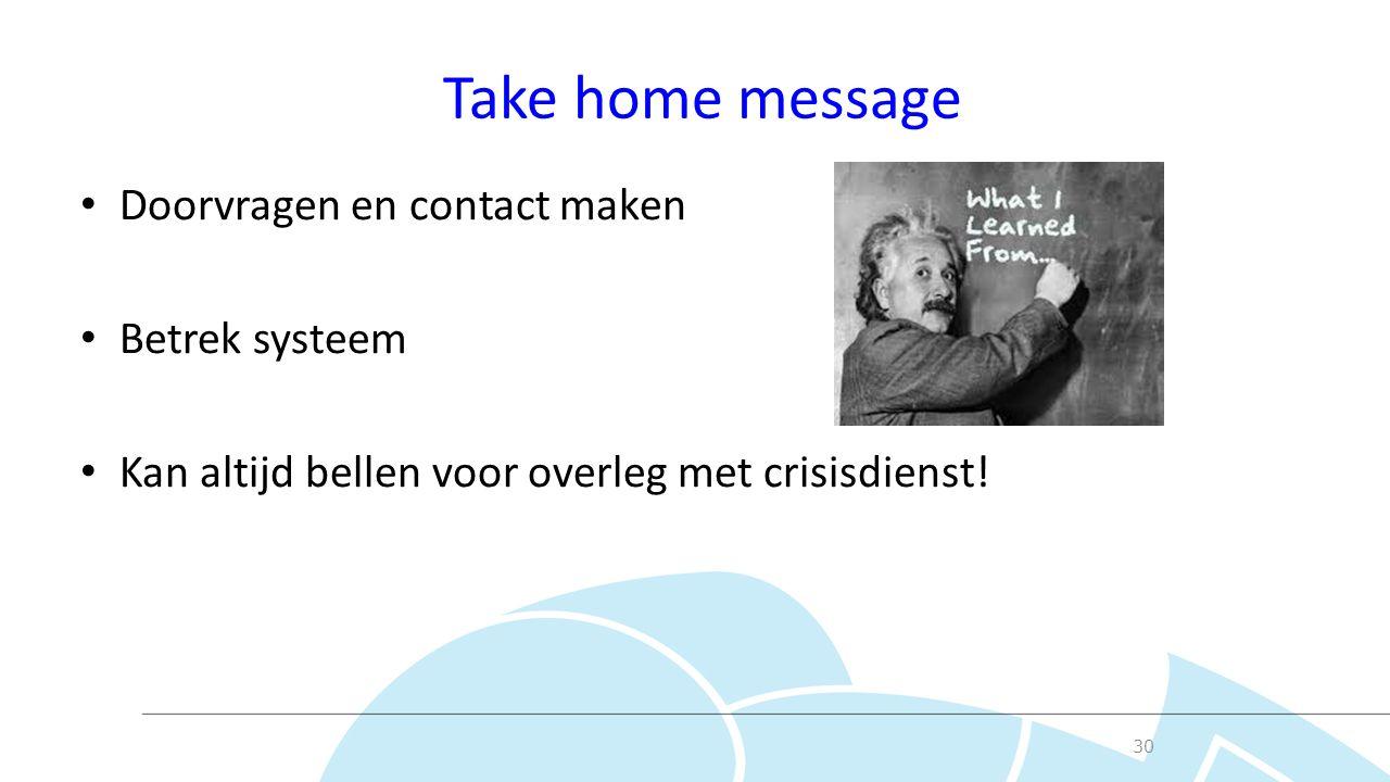 Take home message Doorvragen en contact maken Betrek systeem Kan altijd bellen voor overleg met crisisdienst.