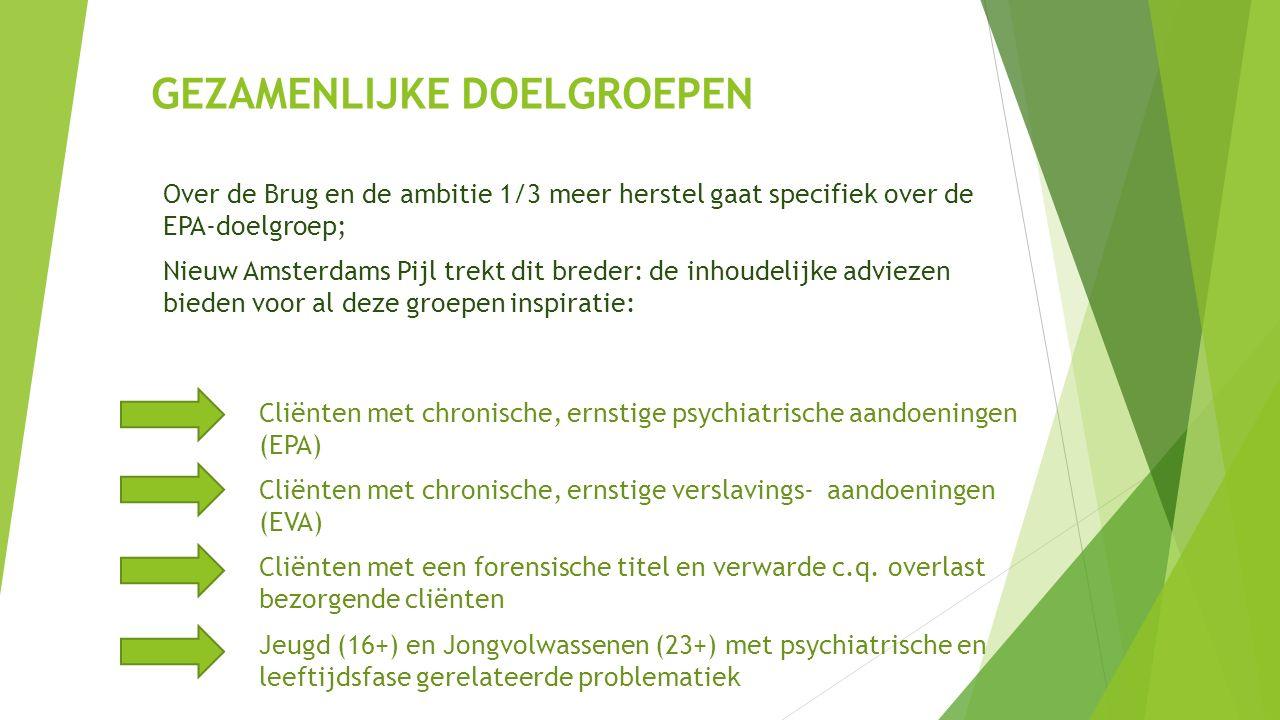 GEZAMENLIJKE DOELGROEPEN Over de Brug en de ambitie 1/3 meer herstel gaat specifiek over de EPA-doelgroep; Nieuw Amsterdams Pijl trekt dit breder: de inhoudelijke adviezen bieden voor al deze groepen inspiratie: Cliënten met chronische, ernstige psychiatrische aandoeningen (EPA) Cliënten met chronische, ernstige verslavings- aandoeningen (EVA) Cliënten met een forensische titel en verwarde c.q.