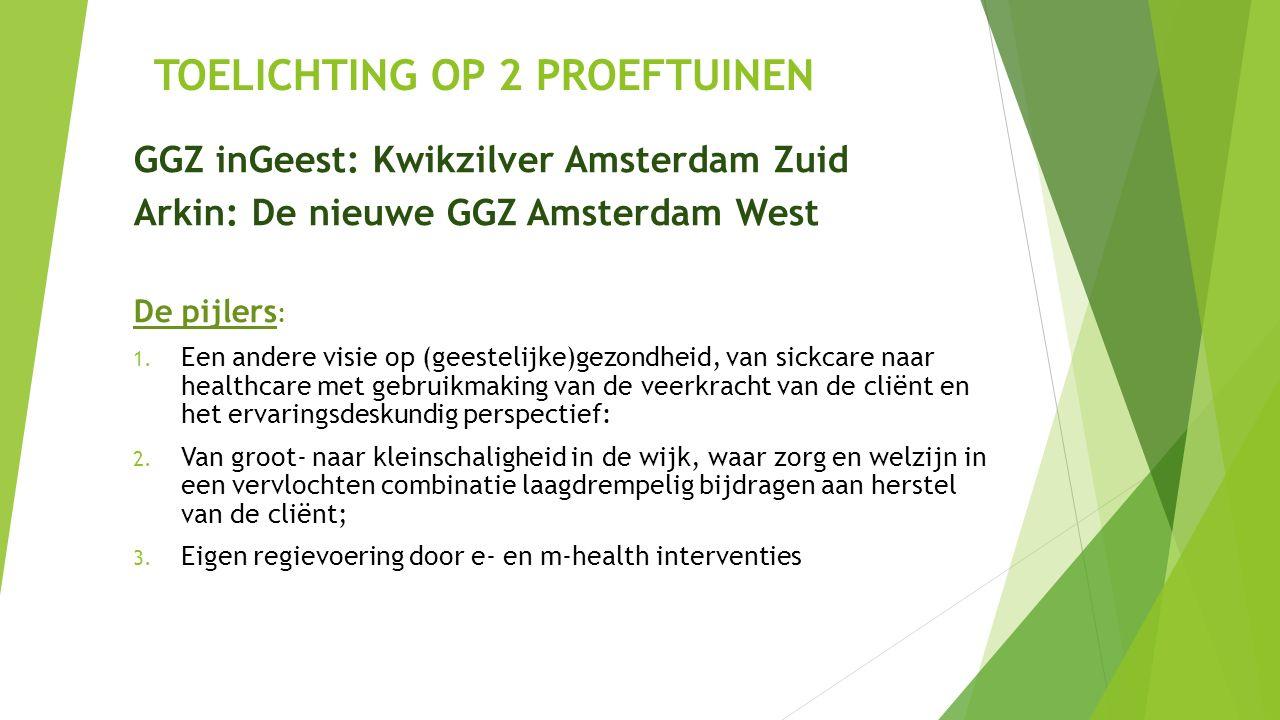TOELICHTING OP 2 PROEFTUINEN GGZ inGeest: Kwikzilver Amsterdam Zuid Arkin: De nieuwe GGZ Amsterdam West De pijlers : 1.