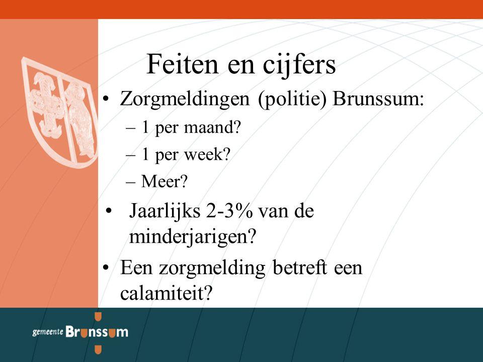 Feiten en cijfers Zorgmeldingen (politie) Brunssum: –1 per maand? –1 per week? –Meer? Jaarlijks 2-3% van de minderjarigen? Een zorgmelding betreft een