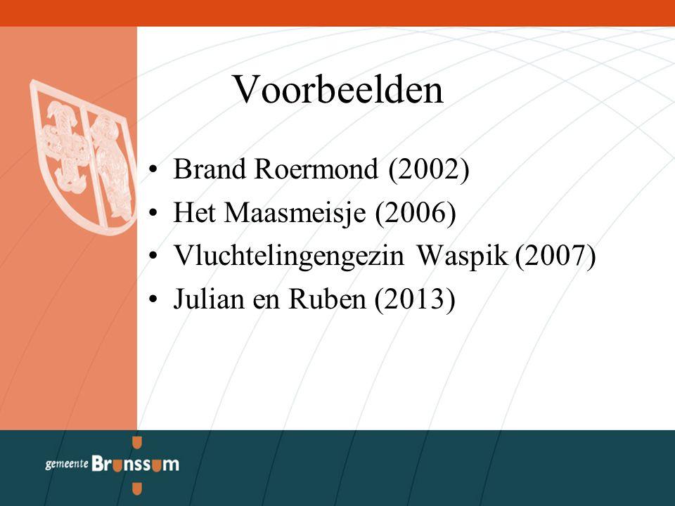 Voorbeelden Brand Roermond (2002) Het Maasmeisje (2006) Vluchtelingengezin Waspik (2007) Julian en Ruben (2013)