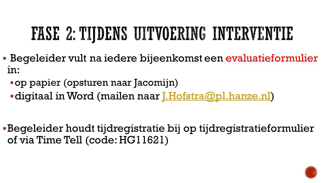  Begeleider vult na iedere bijeenkomst een evaluatieformulier in:  op papier (opsturen naar Jacomijn)  digitaal in Word (mailen naar J.Hofstra@pl.h