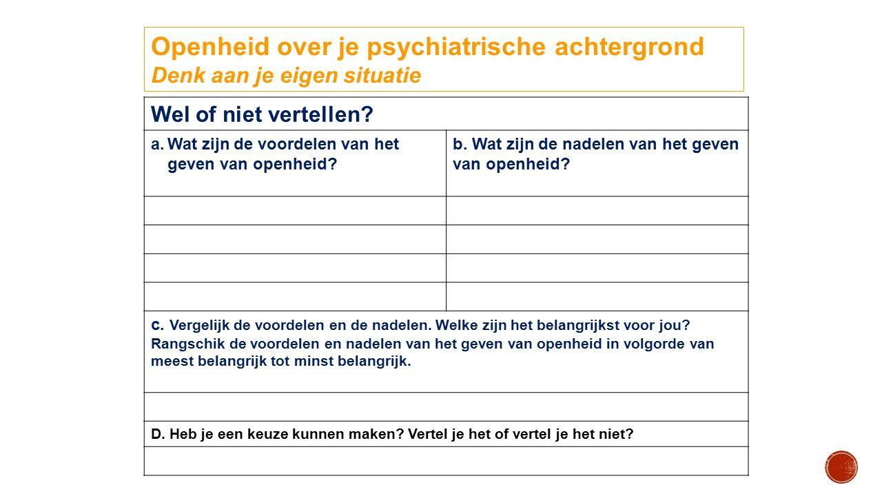 Openheid over je psychiatrische achtergrond Denk aan je eigen situatie Wel of niet vertellen? a. a.Wat zijn de voordelen van het geven van openheid? b