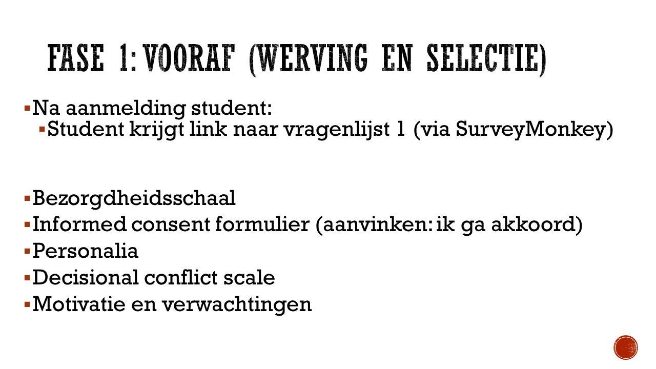  Na aanmelding student:  Student krijgt link naar vragenlijst 1 (via SurveyMonkey)  Bezorgdheidsschaal  Informed consent formulier (aanvinken: ik