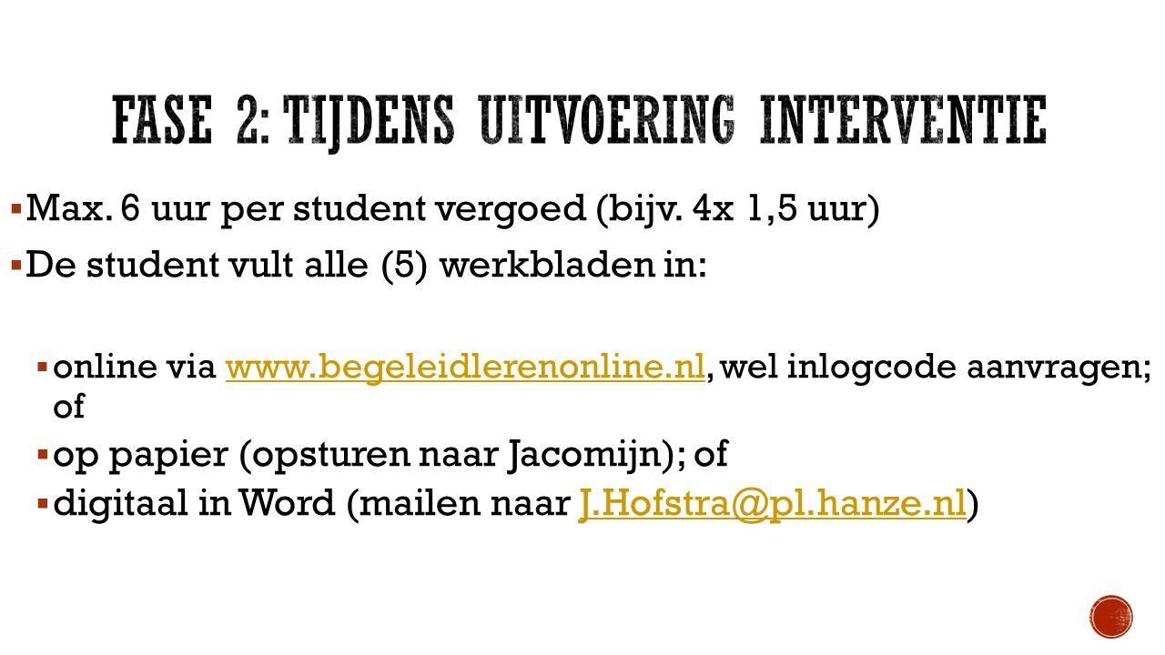  Max. 6 uur per student vergoed (bijv. 4x 1,5 uur)  De student vult alle (5) werkbladen in:  online via www.begeleidlerenonline.nl, wel inlogcode a